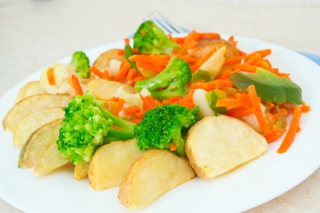 Mixed vegetables on a plate with fork Stock Photo - 17014645