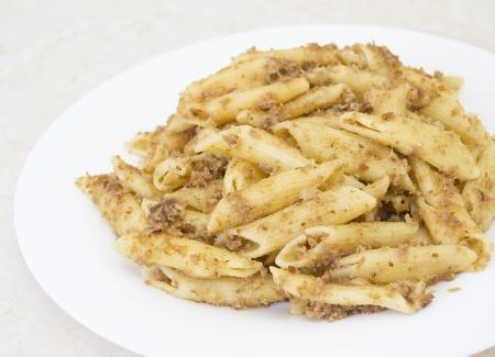 Italian penne pasta with chopped meat Stock Photo - 17014659