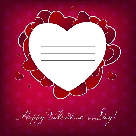 Happy Valentines Day card with heart  Vector illustration Vector