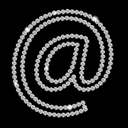 illus: Abstract beautiful black diamond  E-mail sign icon   illus Illustration