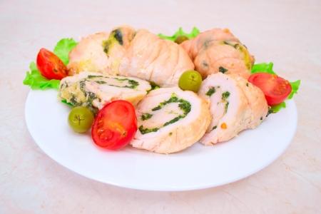 Tasty stuffed Chicken Salad   Stock Photo