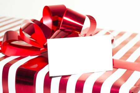Present with Ribbon and tag  Isolated on white background Stock Photo - 17195101