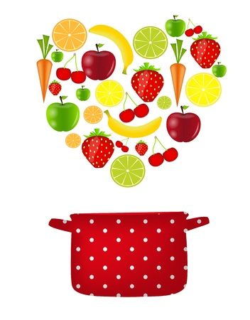 fresh fruits vector illustration Vector