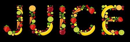 fresh fruits juice word vector illustration Stock Vector - 17248815