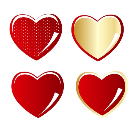 Set of red and gold heart vector illustration Vector