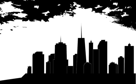 back lit: vector illustration of cities silhouette