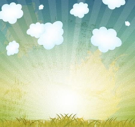 Natural retro grunge floral background vector illustration Stock Vector - 17285827
