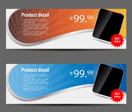 template for smart phone and mobile phone banner vector illustra