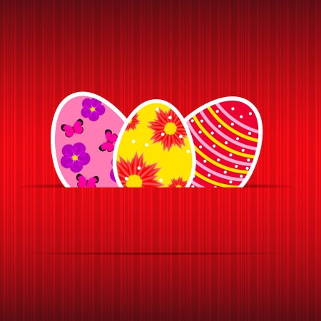 Paper card with easter eggs vector illustration Vector