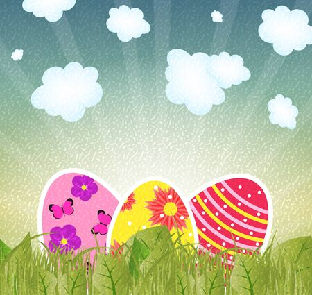 Vector illustration retro grunge background with  easter eggs Stock Vector - 17285832