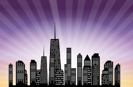 illustration of cities silhouette   Stock Vector - 17361159