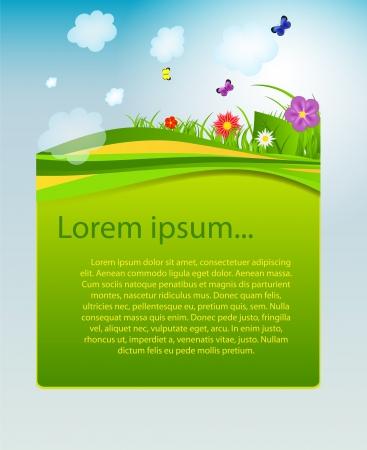 Flower and grass banner Stock Vector - 17472205