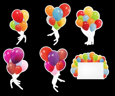 set of labels with colored ballons, vector illustration illustration
