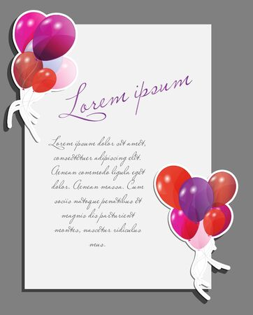 Celebrating blank page with balloons vector illustration Vector