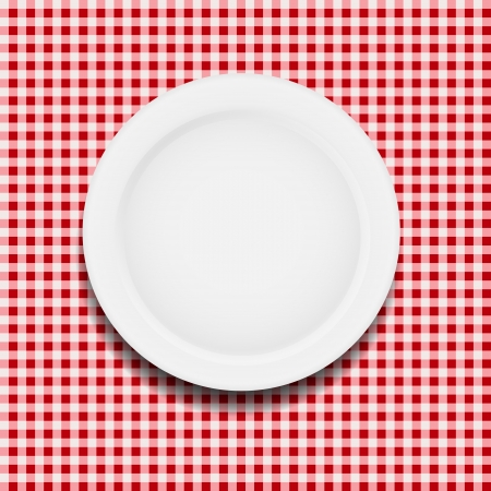 white plate on a checkered tablecloth vector illustration Stock Vector - 17707694