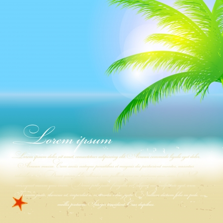 Beautiful summer background with beach, sea, sun and palm tree V Stock Vector - 17707699