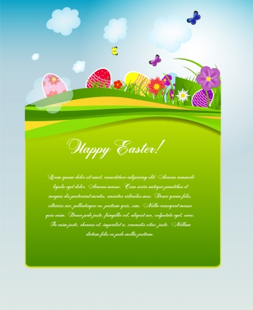 easter morning: Vector illustration background with easter eggs
