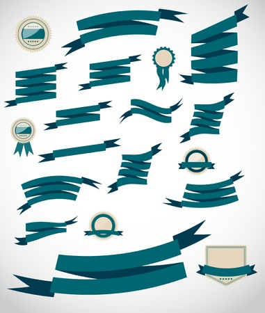 set retro ribbons and label  vector illustration Stock Vector - 17947000