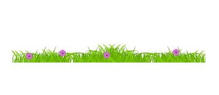 Flower and grass Borders set  vector illustration Stock Vector - 17947010