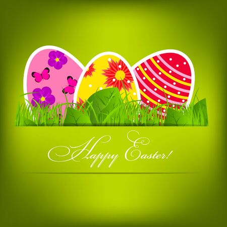 Vector  Paper card with  easter eggs Stock Vector - 17947016