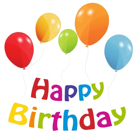 birthday card with colored ballons, vector illustration Vector
