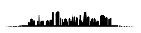 chicago skyline: illustration of cities silhouette