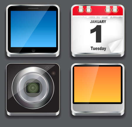 illustration of apps icon set Stock Illustration - 18228137