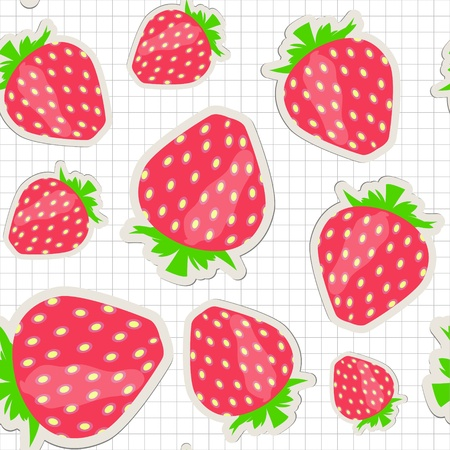 Seamless pattern with  strawberry illustration Vector