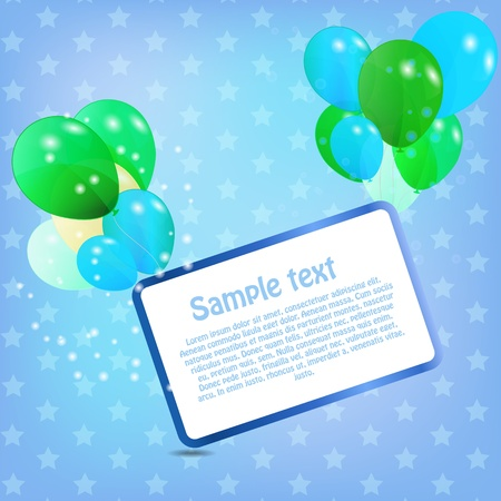 birthday card with colored ballons,  illustration Vector