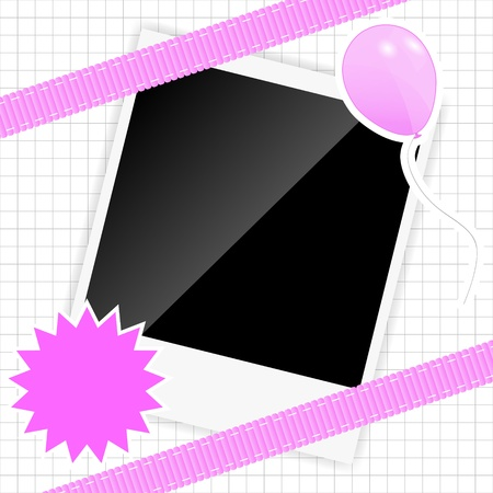 scrapbook elements with photos frame illustration Vector
