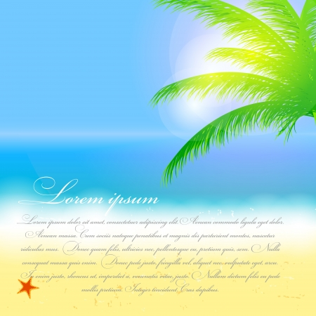 away from it all: Beautiful summer background with beach, sea, sun and palm tree Vector illustration