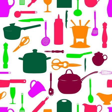 Kitchen tools seamless pattern Silhouette Vector illustration Vector