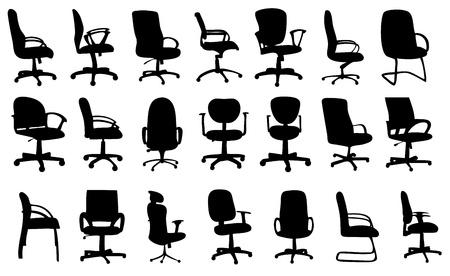 Chaises de bureau illustration vectorielle silhouettes
