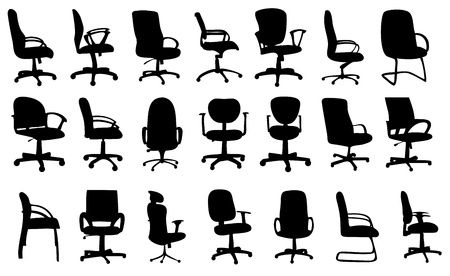 office: Office chairs silhouettes vector illustration