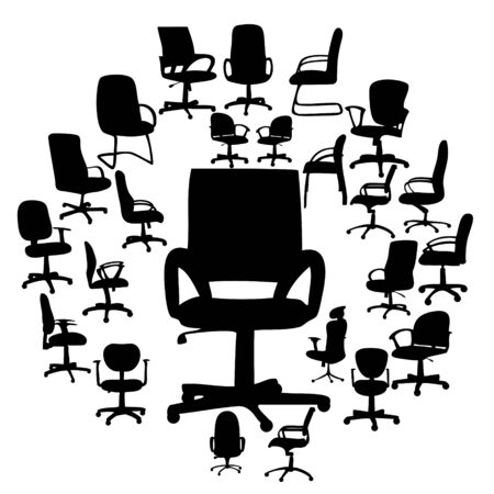 Office chairs silhouettes vector illustration Vector