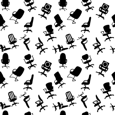 Seamless pattern of Office chairs silhouettes vector illustratio Vector