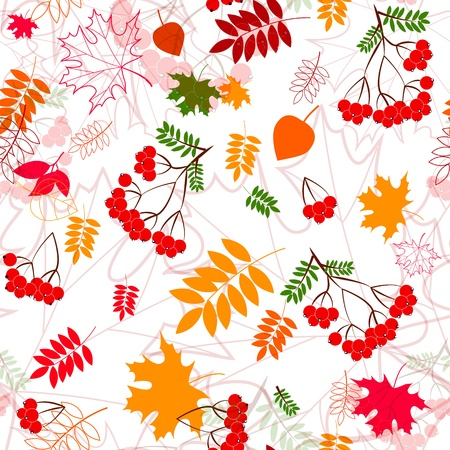 A seamless leaf  and rowanberrys pattern vector background  Vector