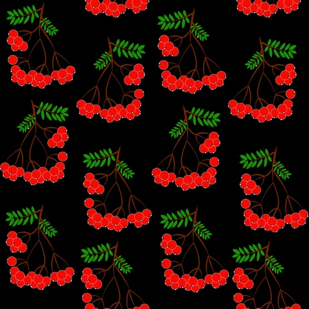 Seamless pattern background with rowanberrys and leafs Vector