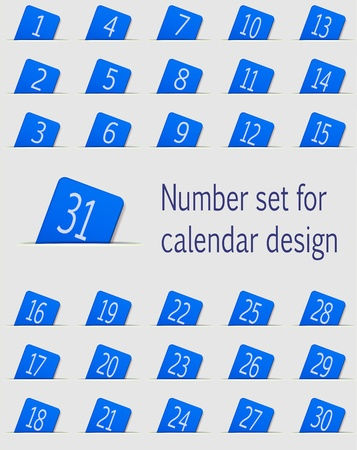 Set of calendar icons with numbers  Vector illustration Vector