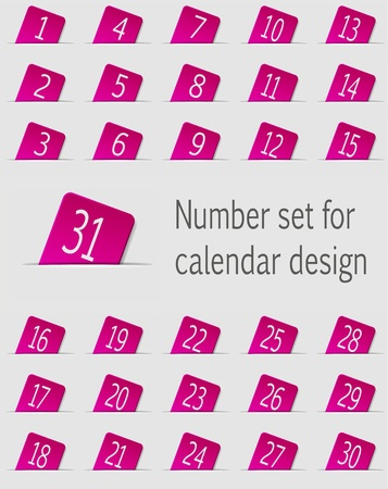 Set of calendar icons with numbers  Vector illustration Stock Vector - 18422198