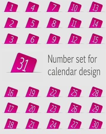 calendar design: Set of calendar icons with numbers  Vector illustration Illustration