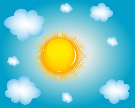 Sun and cloud background Stock Vector - 18456632