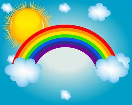 cloud, sun, rainbow  Vector