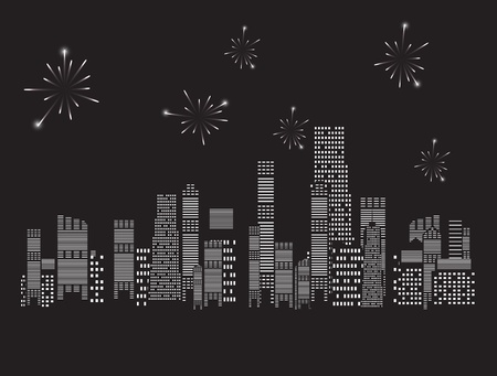 fireworks city vector illustration Stock Vector - 18516970