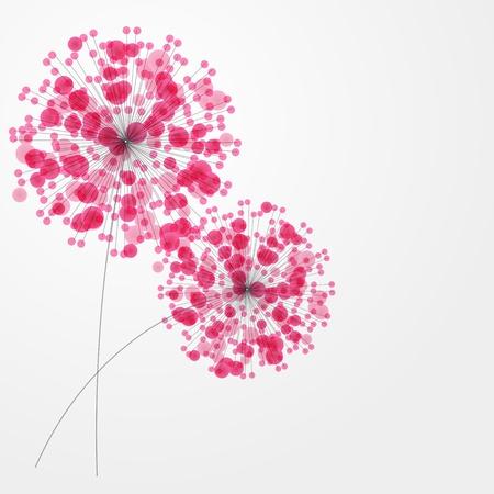flores de cumpleaños: Fondo colorido abstracto con la ilustración de las flores