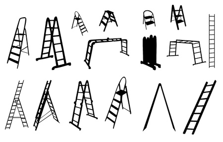 clambering: set of ladder silhouette illustration  Illustration