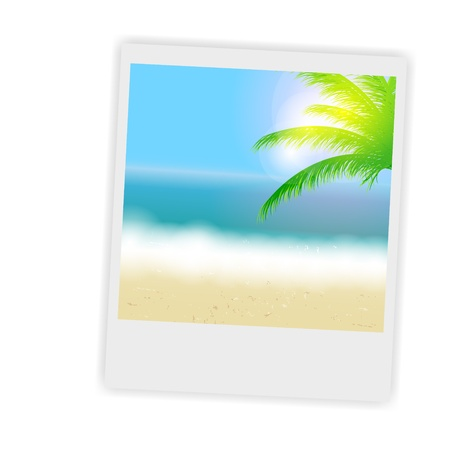 tropical beach panoramic: Beautiful summer background with instant photos, beach, sea, sun