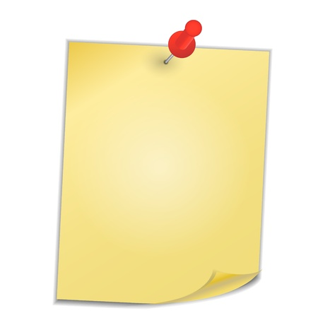 Yellow paper with pin on white background vector illustration Stock Vector - 19193899