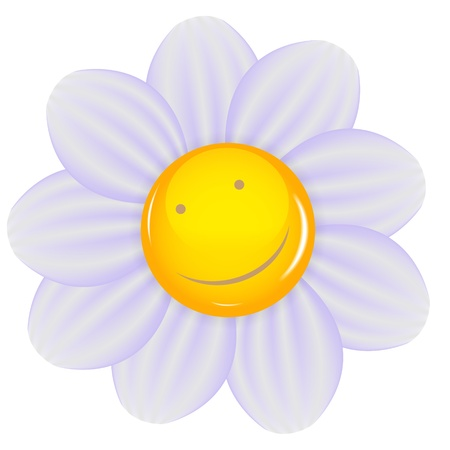 cheery: Daisy with a cheery smile isolated  Vector illustration  Illustration