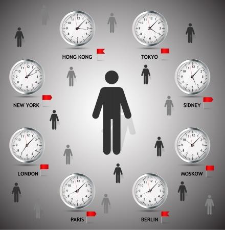o'clock: Time Zone World vector illustration Illustration